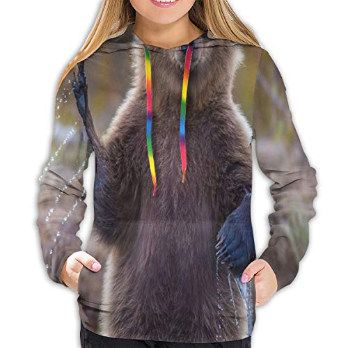 Women's Sweater Hello Animal Waving Nature Bear Cool Girl Casual Hooded Athletic Pullover