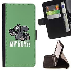 Momo Phone Case / Flip Funda de Cuero Case Cover - Lindo jugar con mis nueces Ardilla - Sony Xperia M4 Aqua