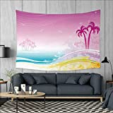 inspiring small kitchen island design  Luau Dorm Decor Fantasy Beach in Hawaiian Landscape Dreamy Island Coast Aloha Holiday Design Tapestry Table Cover Bedspread Beach Towel W71 x L60 (inch) Violet Blue Orange
