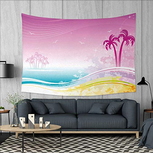 Luau Dorm Decor Fantasy Beach in Hawaiian Landscape Dreamy Island Coast Aloha Holiday Design Tapestry Table Cover Bedspread Beach Towel W71 x L60 (inch) Violet Blue Orange
