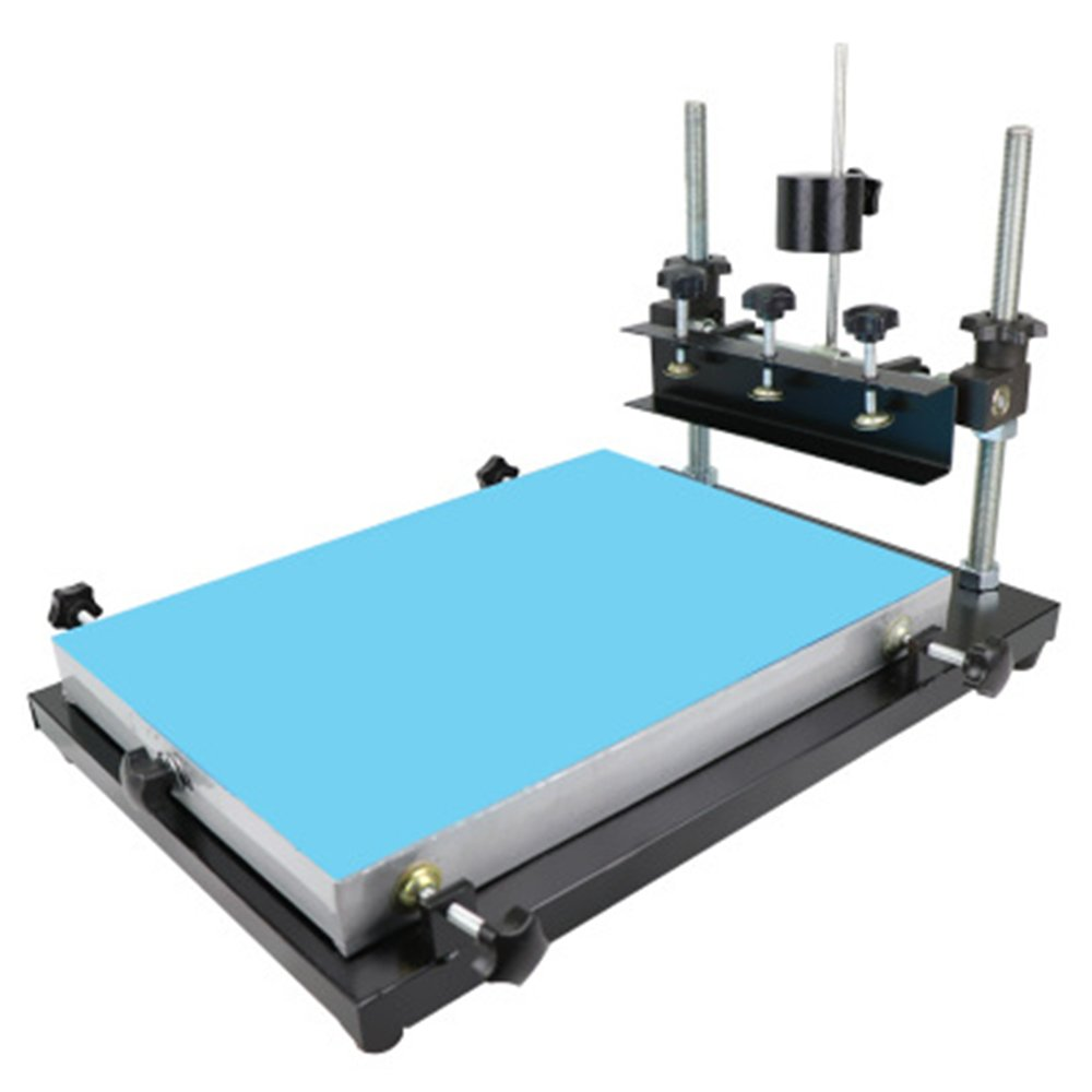 CGOLDENWALL Screen printing table Manual SMT solder paste print table screen Printer printing machine for screen printing Aluminum paster (Printing area :240 300mm)