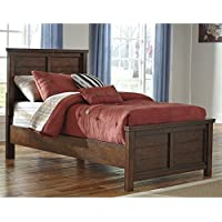 Ashley Ladiville Wood Twin Panel Bed in Rustic Brown