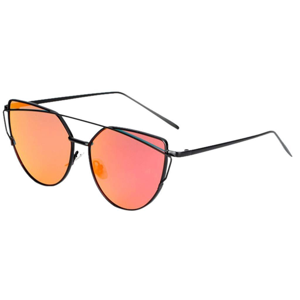 Jeeke Women/'s Flat Lens Mirrored Metal Frame Glasses Oversized Cat Eye Sunglasses UV Protection Sport Goggle Eyewear for Fishing Driving Running