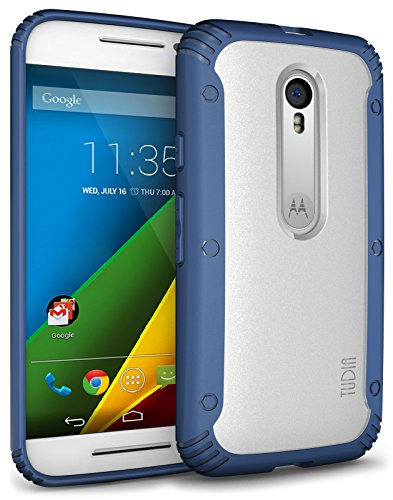 TUDIA Scratch Resistant LUCION Lightweight Hybrid Matte Back Panel Protective Cover for The Motorola Moto G 3 (3rd Gen 2015 Released) (Blue)