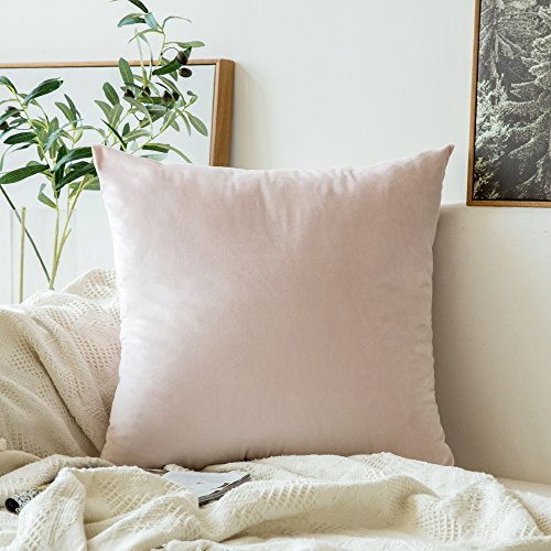 MIULEE Velvet Soft Soild Decorative Square Throw Pillow Covers Cushion Case for Sofa Bedroom Car 24 x 24 Inch 60 x 60 cm