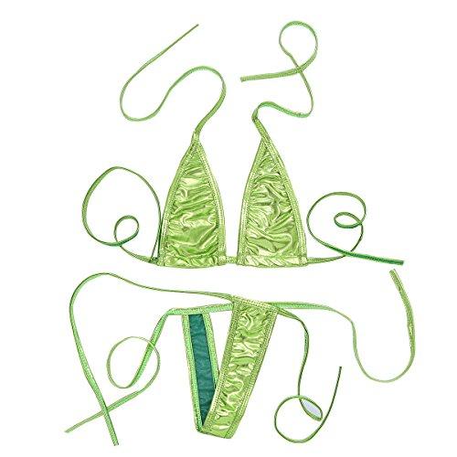 iEFiEL Women Shiny Micro String Bikini Swimsuit Lingerie G-String Underwear Fits Most Fluorescent Green One Size