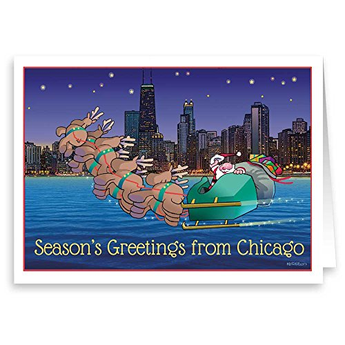 Chicago Theme Christmas Card - 18 Boxed Holdiay Cards & ()