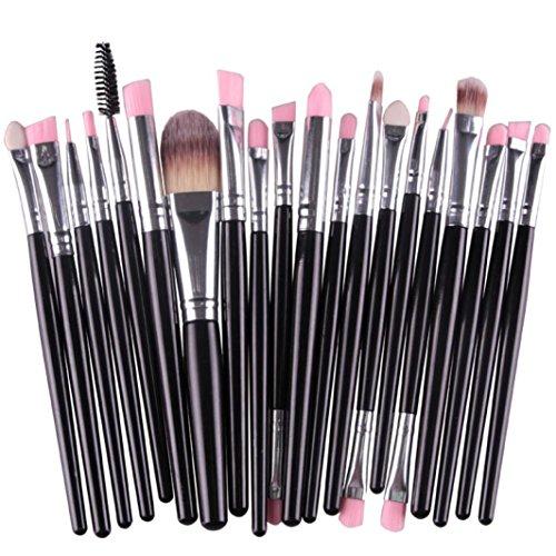 Han Shi Makeup Brushes, Proffessional Toiletry Kit Wool Make Up Brush Tools 20pcs/Set (M, Black)