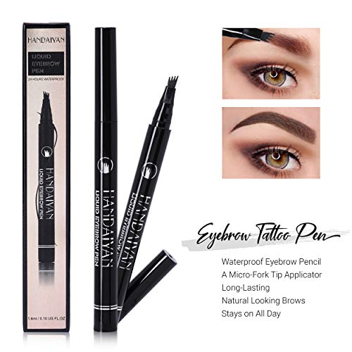 Eyebrow Tattoo Pen - Waterproof Eyebrow Pencil - Tattoo Brow Pen with a Micro-Fork Tip Applicator - Long-Lasting, Natural Looking Brows - Stays on All Day (#4)