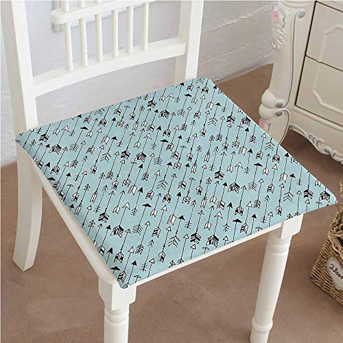 Mikihome Indoor/Outdoor All Weather Chair Pads Tribal Sketchy of Bows Native Themed Print Black White and Aqua Blue Seat Cushions Garden Patio Home Chair Cushions 26