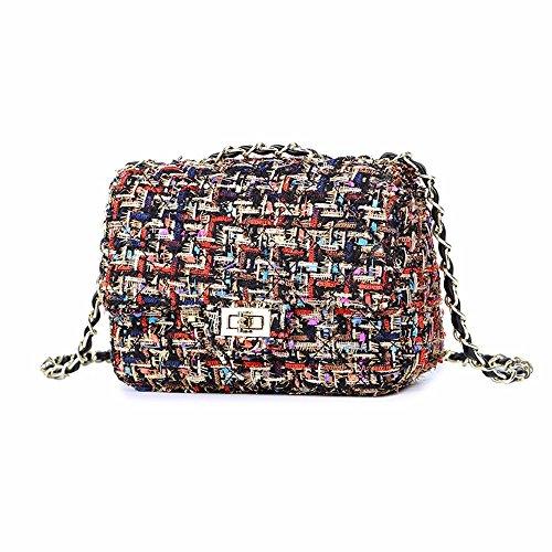 invierno y Color el de Woolen la Black El cadena mini lingge Large bolsa nueva Trompeta otoo Bag de 5taw5pq