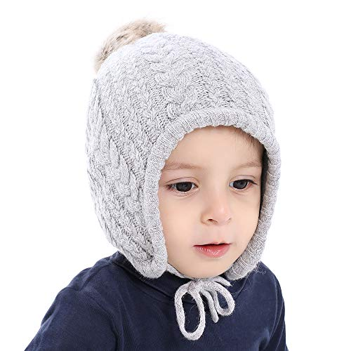 Cutegogo Christmas Crochet Baby Beanie Earflaps Little Girl Boy Knit Infant Hats Winter Warm Cap Lined Polyester Santa(Grey, M)