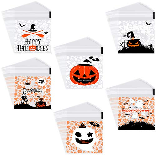 Halloween Style Food (390 Pieces Self Adhesive Treat Bags Halloween Candy Bags Cute Cookie Bags with 6 Different Styles for Halloween Party)