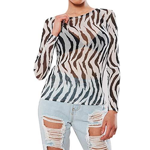 - Summer Tops for Women 2019 Tronet Women's Perspective Mesh Irregular Stripe Printed Full Sleeved T-Shirt Top