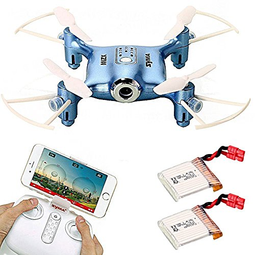 Syma-X21W-WIFI-FPV-Mini-Drone-with-Extra-2-pcs-Batteries-24GHz-4CH-6-axis-Camera-Live-Video-LED-Nano-Pocket-360-degree-Rotation-RC-Quadcopter-With-Gyro-App-Control-Blue