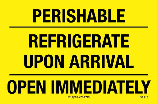 Polar Tech SCL218 Pressure Sensitive Permanent Adhesive Label,''PERISHABLE REFRIGERATE UPON ARRIVAL OPEN IMMEDIATELY'', 3'' Length x 2'' Width, Black on Yellow (Roll of 500) by Polar Tech