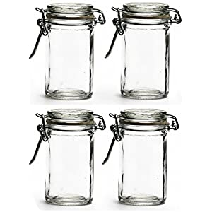 Circleware 67193 Optic Mini Round Glass Spice Jar with Swing Top Hermetic Airtight Locking Lid, Set of 4 Kitchen Glassware Food Preserving Storage Containers for Coffee, Sugar, Tea, 2.3 oz, Clear 48