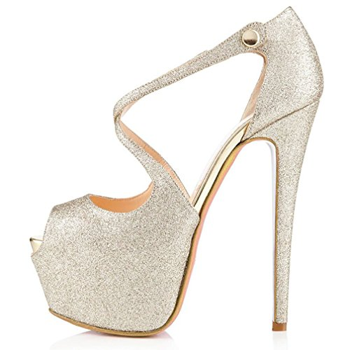 Sandals Party Women Toe Wedding COOLCEPT High Stiletto Glitter Dress Bridal Heels Silver Peep Fashion Platform Shoes RaSxq1F