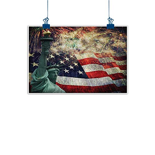 Canvas Prints Wall Decor Art American Flag,Composite Photo of States Idols with Fireworks on Background 4th of July,Multicolor 24