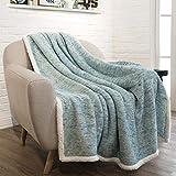 PAVILIA Premium Sherpa Throw Blanket for Couch, Sofa | Soft Micro Plush Reversible Throw | Melange Fleece Lightweight All Season Blanket (50 X 60 Inches Sea Blue)
