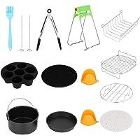 NITRIP 7in Universele 12 stks RVS Hot Air Fryer Kits Zwart+Zilver met Cake Cup Cake Basket Accessoires