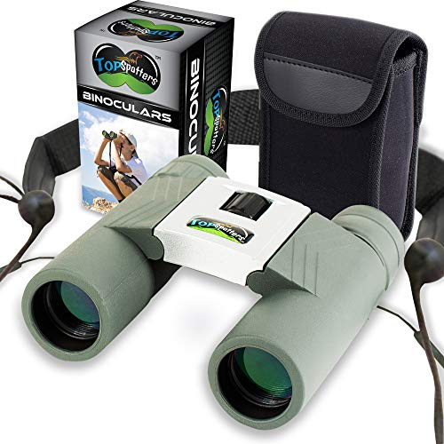 Top Spotters Best Kids Binoculars Set for Boys Or Girls Comfortable Strap 10x25 Shockproof Real Binoculars for Kids Or Older Children No Glare High Resolution for Bird Watching, Sports, Concerts]()