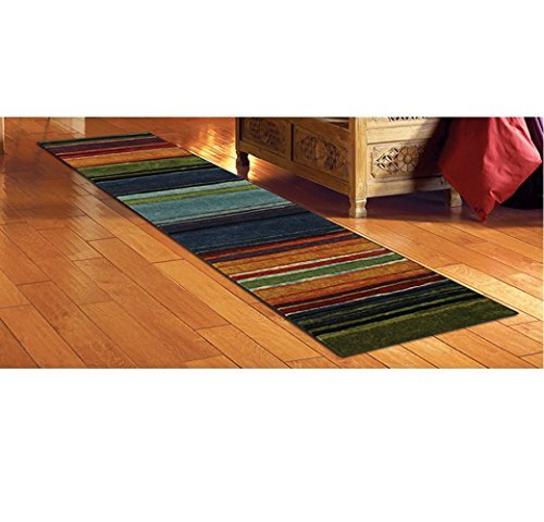 (1 Piece Native Rainbow Striped Runner Rug, Multi Colored Hallway Entrance Way Tribal Colors Southwest Carpet Long Narrow, Skinny Black Blue Green Orange Purple Red Striped Flooring, Nylon, 2 Ft X 8 Ft)