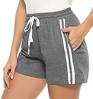 Hawiton Women's 100% Cotton Pajama Pants with Drawstring Lounge PJ Bot