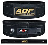 "AQF Leather Weight Lifting Belt Powerlifting Belt Back Support – 4"" Wide x 10mm Thick Lever Buckle Cowhide Leather Training Belt Suede Lining"