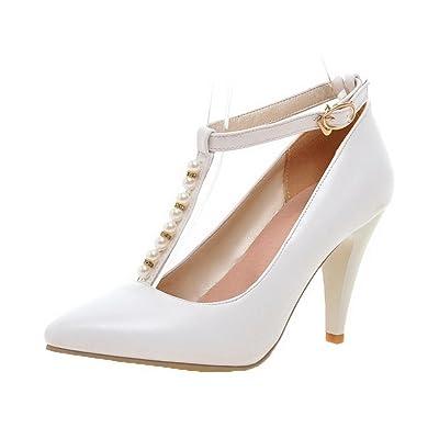 AgooLar Femme à Talon Haut Bijou Boucle Chaussures Légeres, Blanc, 33