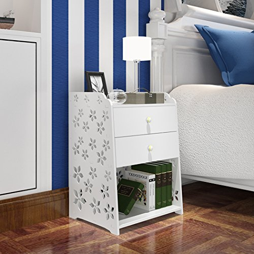 Asunflower 3-Shelf Carved Pattern Night Stand, European Ladder Bedside Table with 2 Drawers