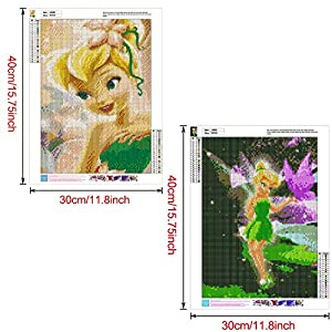 """2 Pack 5D Diamond Painting Tinker Bell Princess Full Drill by Number Kits for Adults Kids, Rhinestone Crystal Drawing Gift Embroidery Dotz Kit Home Wall Décor Paint(12""""x 16"""")"""