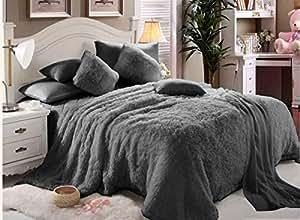 Luxe- Set Of 6 Pcs Faux King Size Blanket Set - Grey