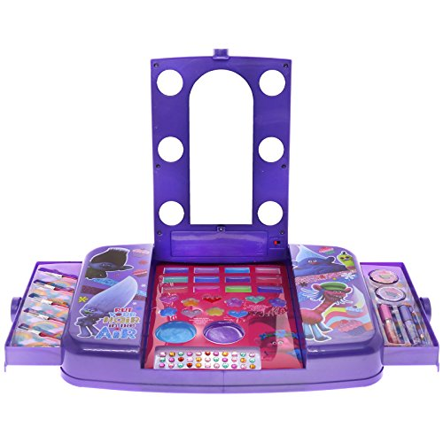 Townley Girl Dreamworks Trolls Mega Cosmetic Set With Light Up Vanity, Mirror, Gloss and Stickers, 38 Piece Set