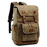 S-ZONE Waterproof Waxed Canvas Camera Backpack Camera Case Bag for Men and Women 14 inch Laptop and Tripod (2-Khaki)