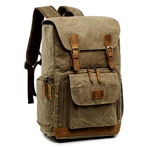 S-ZONE Waterproof Waxed Canvas Camera Backpack Camera Case 14 inch Laptop and Tripod (2-khaki)