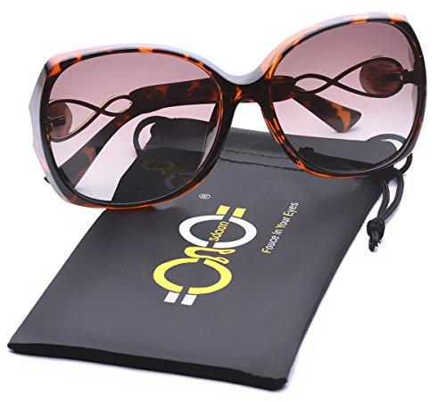Women's Shades Luxury Oversized Polarized Sunglasses 100% UV Protection - Oversized Sunglasses Tortoise