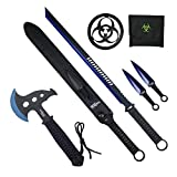 Tactical Survival Tomahawk Throwing Axe and Throwing Knife with Sheath Set. Camping Hunting Fishing Survival Axe Hawk Hatchet (Blue)