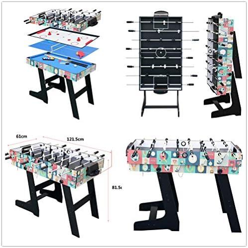 HLC - Mesa multijuegos 4 en 1, mesa de billar, tenis de mesa, hockey y futbolín, con patas plegables: Amazon.es: Deportes y aire libre