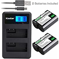 Kastar Battery 2 Pack + Dual LCD USB Charger for Nikon EN-EL15 ENEL15 & Nikon 1 V1, D500, D600, D610, D750, D800, D7000, D7100, D800, D800E DSLR Camera, MB-D11, MB-D12, MB-D14, MB-D15, MB-D16 Grip