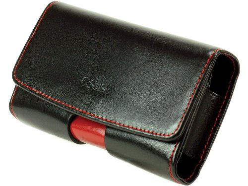 Cellet Horizontal Omega Pouch for Blackberry 8700, 8703e, 7250, Nokia E62, E61 - Black/Red