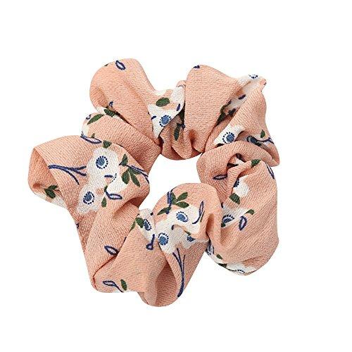 (URIBAKE Women Elastic Hair Rope Ring Tie Floral Print Cloth Scrunchie Ponytail Holder Hair Band Headband Pink)