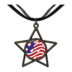 Chicforest Bronze Retro Style American Flag With Hearts Five Pointed Star Pendant