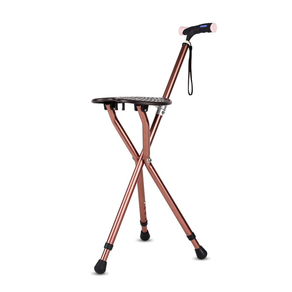 Walker, Crutches Chair Old Folding Aluminum Walker, Older Anti-Skid with Stool Handcuffs Walking Stick Assisted Walking (Color : B)