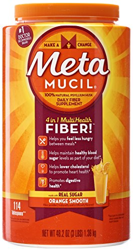 Metamucil Daily Fiber Supplement, Orange Smooth Sugar Psyllium Husk Fiber Powder, 114 Doses by Metamucil