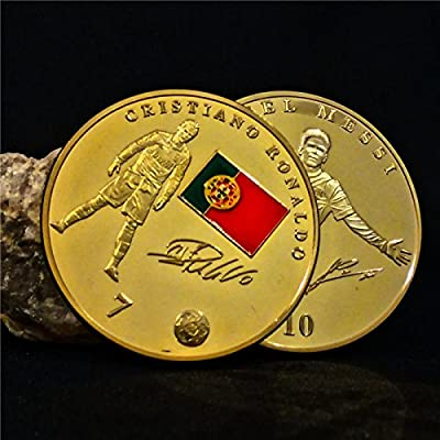 Lionel Messi & Cristiano Ronaldo Coin Football Uefa Champions League Word Cup Real Madrid Madrid Cf Plated Gold Collect Portugal Souvenir Coins