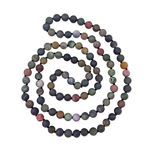 - MGR MY GEMS ROCK! 36 Inch 8MM Matte Finish Semi-Precious Genuine Fancy Jasper Long Endless Infinity Beaded Indian Agate Strand Necklace.