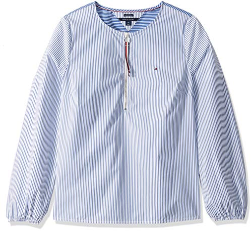 Tommy Hilfiger Women's Adaptive Striped Tunic with Extended Zipper Pull, White/Multi, Medium