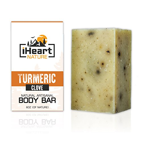 Organic Turmeric Soap Bar (Large 6 Ounce) Made in USA (Beautiful Glowing Skin Brightening Lightening Whitening) Ayurvedic Vegan Artisanal Natural Handmade Aromatherapy Soap ()