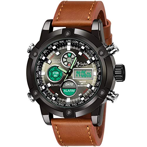 DAIZEL Analog-Digital Men's & Boy's Watch (Black Dial, Brown Colored Strap)